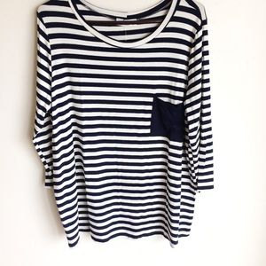 Amelia James Striped Top Blue Accent Pocket Sz XXL